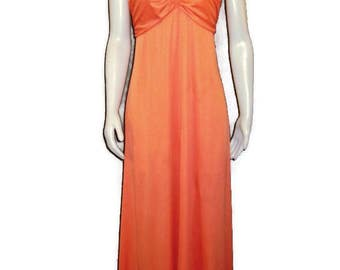 70s Orange Dress Empire Waist Dress Prom Dress  Sleeveless Dress 1970s Spring Dress Orange Maxi Dress Summer Dress Orange Sundress