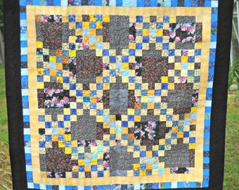 Modern Double Irish Chain Scrap Quilt in Blue, Yellow, and Black