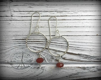 Stamped Sterling Silver and Carnelian Circle Earrings