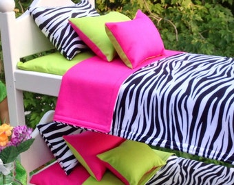 Doll bedding ONLY American Girl: Zebra and pink lime green