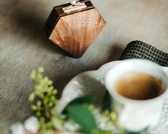 Diamond shape walnut wood ring box by Woodstorming - MADE TO ORDER