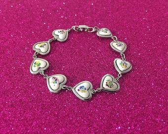 Pretty Silvertone Porcelain Heart Bracelet