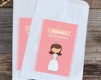 First Communion Personalized Paper Bags, First Communion Favor, Girls First Communion Bag, Blonde Girl First Communion