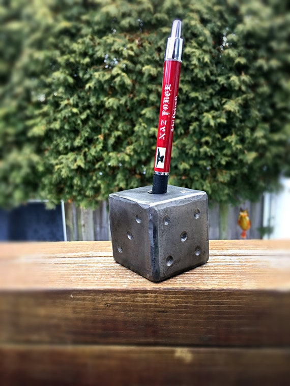 """PEN HOLDER 2"""" SOLID Die or Paper Weight - Hand Forged and Signed by Blacksmith Naz - Huge & Heavy 2 pounds  A Conversation Striker Everytime"""