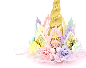 Unicorn flower lace crown headband || gold + pastels  || Unicrown || Photography Prop