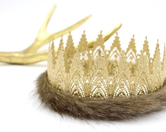 Where Wild Things Are inspired || FULL SIZE Harlow gold lace crown || Wild One || Max Crown