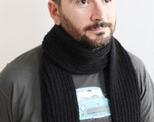 Knitted Black Scarf - Men's Scarf - Black Scarf  - Ready to ship