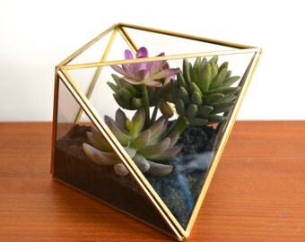 Terrarium Faux Succulent Arrangement in Geometric Planter