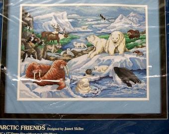 Sunset Needlepoint Kit | ARCTIC FRIENDS | Janet Skiles