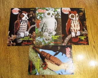 Birds of a Feather - Great Horned owl, Snowy Owl, Screech Owl, Mourning Dove - (Backwoods Series) - Vintage CROCHET Pattern by Annie's Attic