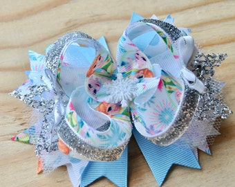 Boutique Bow, Over the top bow, Elsa and Anna hair bow, Disney Inspired Hair bow, FROZEN movie inspired bow, 4 inch hair bow, Snow flake bow