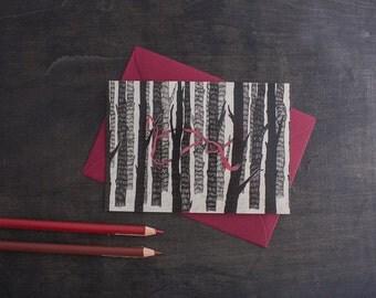 Forest Print. 4x6 Art Print. Botanical Print. Woodland Nursery Art. Red Ribbon Art. Woodland Wall Art. Rustic Home Decor