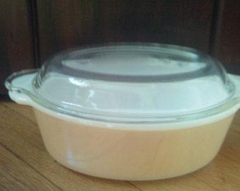 Vintage  Fire King Casserole / Peach Lusterware Casserole Dish / Baking Dish