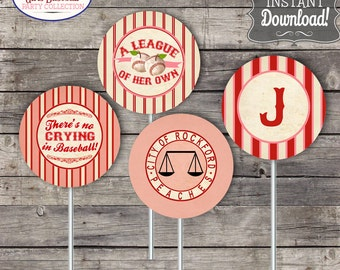 Girls Vintage Baseball Party Circles/Cupcake Toppers - INSTANT DOWNLOAD - Editable & Printable, League of her own Birthday Baby Shower Decor