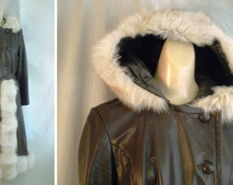Vintage Leather Coat 1970's Brown  Fox Fur Maxi Coat with Hood small Rock Star