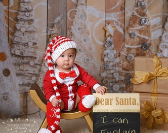 Newborn Christmas Hat, Holiday Hat, Newborn Santa Hat, Santa Hat For Baby, Newborn Photo Prop, 12 Months Hat, 6 Months Hat, Holiday Elf Hat
