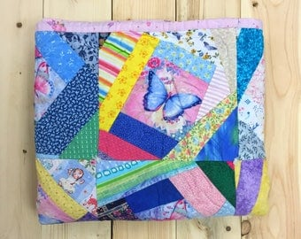 Vintage Quilt Butterfly Patchwork Baby Quilt Festival Blanket Beach Blanket Picnic Blanket Shabby Chic Cotton Fleece Backing Pink Girl's