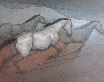 Wild White Horses, Horse Painting Signed Giclee Print 15.5x11 inches
