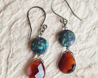 Gift For Mom, Turquoise Earrings, Carnelian, Semiprecious Stone, Turquoise Jewelry