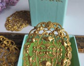 2 Vintage Ornate Seriously Large  3 Inch Long Floral Filigree Finding