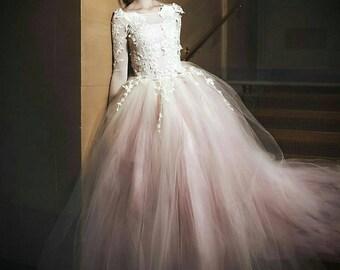Wedding dress, long sleeve lace tutu dress, ivory and blush dress