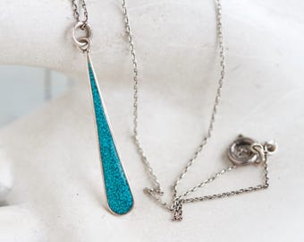 Turquoise Teardrop Necklace - Sterling Silver Pendant on Chain - Made in Mexico