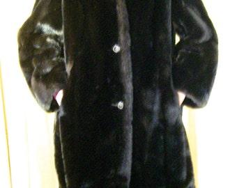 Gorgeous Vintage MINCARA Russel Taylor Mink Faux Fur Long Coat SZ M L