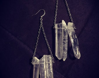 Clear Quartz Crystal Row Earrings