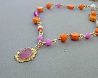Orange Necklace  - Orange and Pink Necklace with Howlite, Vintage Glass, Freshwater Pearl, Mother of Pearl and Brass