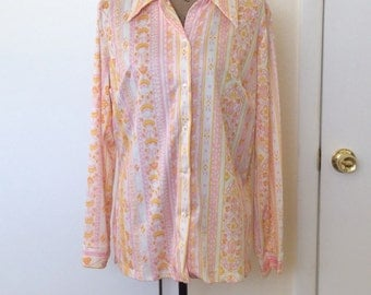 1960s Day Glo Button Up Blouse -size Large