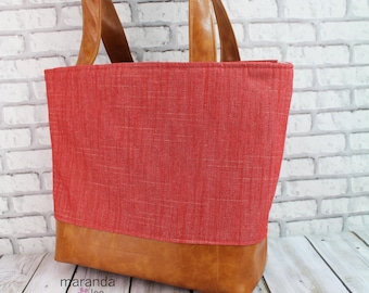 Lulu Large Tote Diaper Bag  Red Denim and PU Leather with Grey Lining  READY to SHIP   Zipper Closure