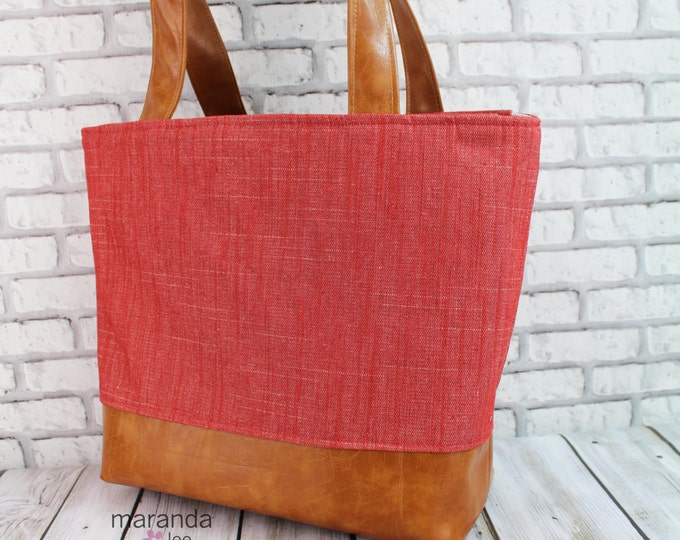 Lulu Large Tote Diaper Bag  Red Denim  READY to SHIP