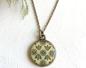Handmade Bronze Painted Pendant, Seed Pod Art, Folk Pattern Necklace, Beige Pendant