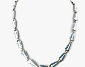 Vintage Margot de Taxco Art Deco Silver Bellflower Motif Necklace with Blue and White Enamel