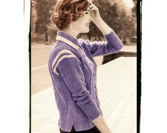 Instant Download PDF Fifties Knitting Pattern to make a Womens 4 Ply Cardigan Sweater one size fits loosely up to 36 inch Bust