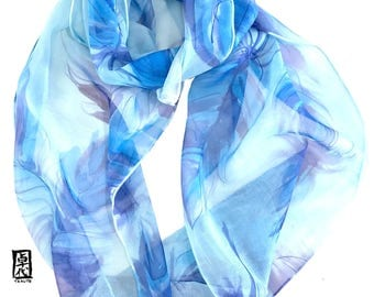 Feather Print Scarf, Boho Loop Scarf, Feather Scarf, Fashion Boho Scarf, Spring Blue Feathers, Handpainted Silk Scarf, 11x60 inches