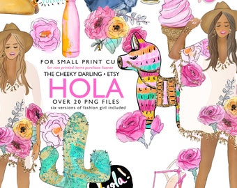 Digital Paper Planner Graphics Summer Hola PNG files piñata glitter cactus Floral  Clip Art fashion watercolor cute Theme fiesta party