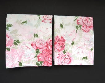 Pair Standard Pink Roses Pillowcases - JC Penney Percale - Shabby Chic Country Cottage Chic Vintage Bedding Sheets Linens