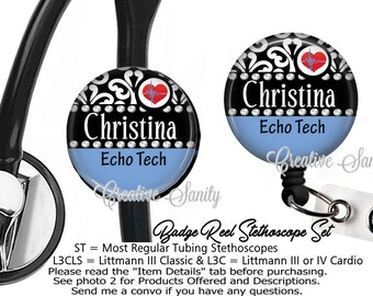 Nurse Badge ID Set, Personalized Echo Tech, Ceil Blue, Stethoscope ID Tag and Badge Reel Combo Set, READ Listing Carefully