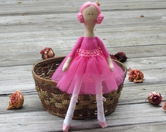 Ballerina doll, princess doll, pink fabric doll, cloth doll cute stuffed doll softie rag doll ballet dancer birthday gift for girls