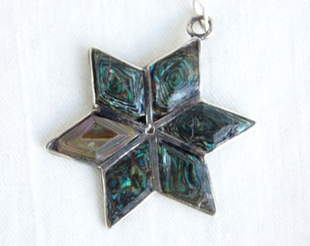 Abalone Star Pendant Mexican Alpaca Vintage Necklace Finding Snowflake Gift Under 10