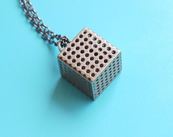 minimalist jewelry - Perforated Cube Pendant Necklace in Stainless Steel. 3d printed, modern jewelry, geometric