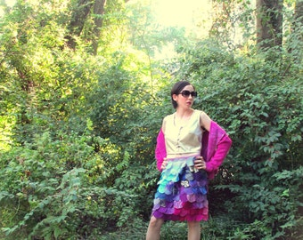 S. Fuschia Audrey jacket in bamboo fleece fabric, hand dyed. Many ways to wear it! Soft and cozy.