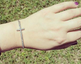 Sideways Cross Bracelet - Silver Cross Jewelry - Pave Rhinestone Crystals Cross Bracelet - Silver Sideways Cross Jewelry