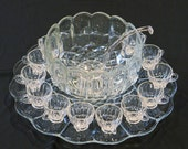 RESERVED:  L. E. Smith Dominion Punch Bowl, Underplate, Glass Ladle, and 12 Cups