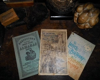 3 Victorian Promo Almanacs St Jacobs Oil  Ladies Birthday Hostetter Apothecary