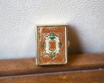 Vintage Jewelry Box, Trinket Box, Tiny Gold Box, Stash Box, Mirrored Box, Box with Mirror
