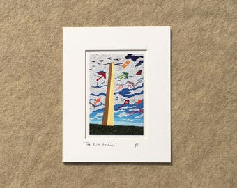 "Small print ""The Kite Festival"" YOUR CHOICE of mat color, fits 8x10 inch frame, high quality reproduction print"