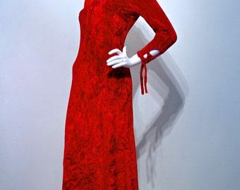 Vintage 1970s CRUSHED VELVET Vamp Gothic Keyhole Front Dress with Lacing Detail // Deep Blood Red //London Label