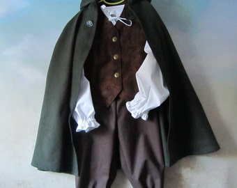 Child's Size 6, 8, & 10 Hobbit Woodland 4 Piece Costume: Hooded Cloak, Fully Lined Vest, Pants, Shirt - All Cotton Fabric - Ready To Ship